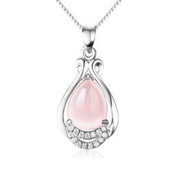 Big Gold Pendant Necklace UK - D197 with pink crystal silver necklace female rose gold girl jewelry pendant wholesale love Slide more big ellipse crystal