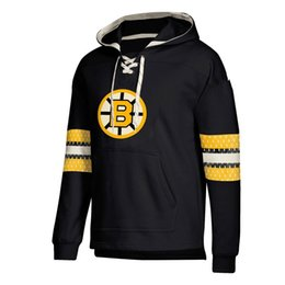 bruins jersey sweatshirt UK - designer hoodies Mens Boston Bruins Jersey Lace-Up Pullover Hoodie Black brand Sweatshirts With Splicing Draw string Full Sleeves Stitched