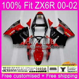 $enCountryForm.capitalKeyWord Australia - OEM For KAWASAKI NINJA ZX636 ZX 600 CC ZX-6R 2000 2001 2002 58HM.145 ZX-636 ZX 636 ZX 6R 600CC ZX6R 00 01 02 Injection Black Red Fairing