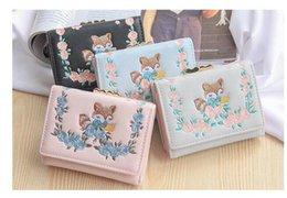 cute fox wallet 2019 - Embroidered Women Short Wallet Cute Fox Purse Lock Female Wallets Fashion Coin Card Holder Ladies Three fold Purse cheap