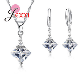 $enCountryForm.capitalKeyWord Australia - Exquisite Design Rhombus CZ Crystal Crystal Pendant Jewelry Set 925 Necklace+Earrings Set For Girl Bijoux