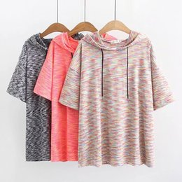 Plus size oversized shirts online shopping - Oversized Summer Short Sleeve Women Hooded Gym Shirt Fitness Loose Dry Quick Sportswear Tops Joggers Running Shirts Plus Size