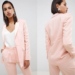 $enCountryForm.capitalKeyWord UK - New Light Pink Women Clothes Two Pieces Spring Fashion Mother Of The Bride Suits V Neck Formal Pants Suits