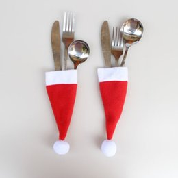 thin knives Australia - Christmas Tableware Desktop Decor Tableware Knife Fork Hat Christmas Decorations Table Fork Spoon Cover Cap Xmas Red Hats
