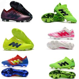 the best attitude 8d1b1 9741c 2019 new mens soccer cleats Nemeziz Messi 18.1 FG soccer shoes Nemeziz 18  chaussures de football boots chuteiras de futebol orange original