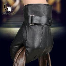 Men Gloves Leather Sheepskin Australia - 2019 Men Leather Gloves Men Sheepskin Leather Gloves Fur Motor Wool Mittens Pure Colour Warm Winter