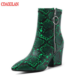 short white high heels NZ - CDAXILAN new arrived women's short boots snake PU leather high-heel pointed toe side zipper ankle boots sexy witner