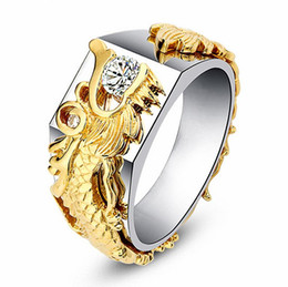 watch band sets UK - Golden Link Ring Mens Dragon Ring Band Design Tennis Ring Men Rings Gold Watch With Micro Pave CZ Stone Diamonds