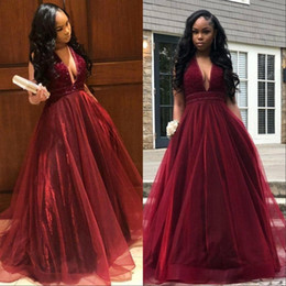 a4fa6134ae1d6 Burgundy Sexy V Neck A Line Prom Dresses 2019 Sleeveless Plunging Exquisite  Beads Organza Floor Length Formal Evening Party Gowns