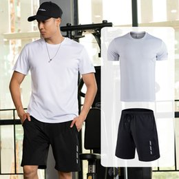 $enCountryForm.capitalKeyWord Australia - Tracksuit Men Set Quick Dry Running Sets Clothing Fitness Suits Loose Type Short Sleeve T-Shirt Gym Shorts Mens Sports Suits