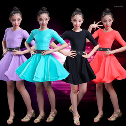 Stage Wear Kids Latin Dress Costume Children Competition Ballroom Dance Spandex For Girls Salsa Rumba Cha Samba Tango Ruffle Skirts1