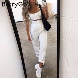 White Flannel Trousers Australia - Berrygo Casual Sexy Buckle Belt White Pant Trousers Women Elegant High Waist Straight Sash Pant Bottom Female Patalon Pink Pants Q190510