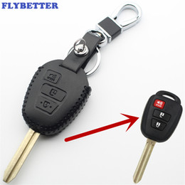 $enCountryForm.capitalKeyWord Australia - FLYBETTER Genuine Leather 3Button Transponder Remote Key Case Cover For Toyota 14-15 Scion XB Wish Yaris Car Styling L368