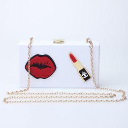 $enCountryForm.capitalKeyWord Australia - Caker Brand 2019 Women Acrylic Flower Handbag Red Lip Chain Lipstick Black White Crossbody Shoulder Bags Wholesale