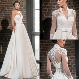 Wedding Dresses Sheer Jacket Australia - Modest A-Line Ivory Applique Wedding Dresses With Jacket Long Sleeves Bridal Gowns V-neck Lace Up Back Cheap Country Wedding Dress