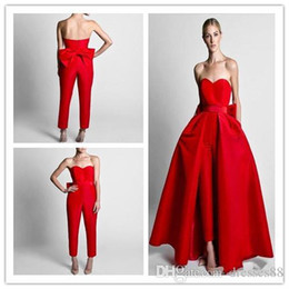 $enCountryForm.capitalKeyWord Australia - Hot Sell Red Jumpsuits Bow Sash Evening Dresses With Detachable Skirt Sweetheart Floor Length Formal Party Prom Gowns Pants