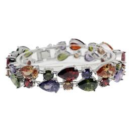 "Amethyst Tennis Bracelet Silver Australia - 925 Sterling Silver Rhinestone Crystal Gemstone Amethyst Peridot Garnet Morganite Tennis Links Bracelets Jewelry 8"" INCH"