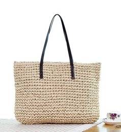 Hand Bag Green Color Australia - 2019 casual straw woven bag for women with simple fashion all hand woven rattan bag hollow out pure color for female