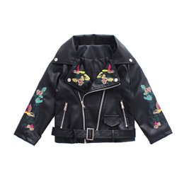 pink motorcycle jackets Australia - Teens Girls 2018 Autumn New Korean Baby Girl Kids Embroidered PU Leather Fashion Short Coat Pink Black Zipper Motorcycle Jacket