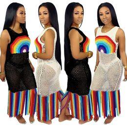 f0961bd0fe3a1 2019 Women Mesh Dress with Long Tassels Hollow Out Beach Dresses Summer  See-through Tank Skirt Swimwear Biniki Cover-ups S-3XL A52106