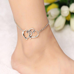 Girl Chain Love Australia - Double Heart Bracelets Couple Love Anklet Ethnic Romantic Beach Jewelry Fashion Vintage Silver Foot Chain Bracelets Men Women Girl Gift