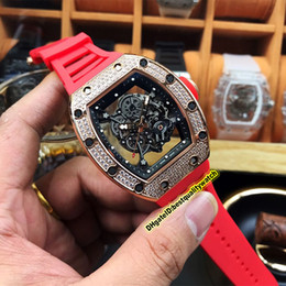 luxury watches red dial NZ - 19 Style Luxury Best Edition RM 055 Diamonds Case Skeleton Dial Japan Miyota Mechanical RM055 Men Watch Red Rubber Strap Sport Watches