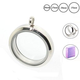 coin locket pendants Canada - charm Wholesae locket 20 25 30mm 35mm Magnetic Silver 316L Stainless steel floating locket pendant