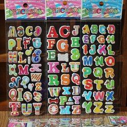 school scrapbook stickers 2019 - & 100pcs lot 3D Cartoon 26 english letters OR Arabic numbers kids rooms bubble Stickers school study Scrapbook Puffy foa