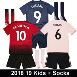 Youth Soccer Uniform Jerseys NZ - Kids 2018 POGBA Pink Soccer Jerseys with socks 2019 LUKAKU RASHFORD MATA Football Kits LINGARD 18 19 Youth Boy Chird Shirt uniform