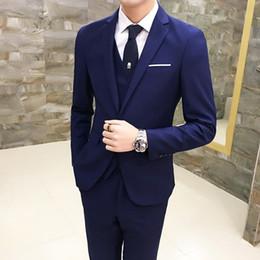 pure purple wedding dresses 2019 - Pure Color Men Suit Jacket with Vest and pant 9 Color Choice Blazer Business Wedding Party Dress Men suit three-piece se
