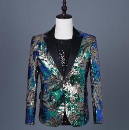 $enCountryForm.capitalKeyWord Australia - Cheap magician sequins blazer men suits designs jacket mens stage costumes for singers clothes dance star style dress punk rock blue