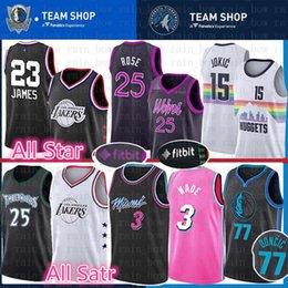 2019 All Star Lakers 23 LeBron James 25 Derrick Rose Timberwolves Jersey 3  Dwyane Wade Heat 77 Luka Doncic Mavericks Nikola 15 Jokic Nuggets 56797911e