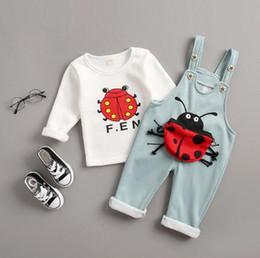 $enCountryForm.capitalKeyWord UK - 2019 Spring Autumn Baby Girls Cotton Sets Infant Clothes Suits Toddler Children T Shirt Cartoon Ladybug Bib Pants 2PCS Costume