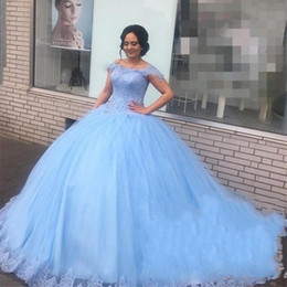 $enCountryForm.capitalKeyWord Australia - Quinceanera Dresses Aqua Ball Gown Plus Size Prom Dresses Boat Neck Short Sleeves Tulle Appliques Sweet 15 years Dress With Bead