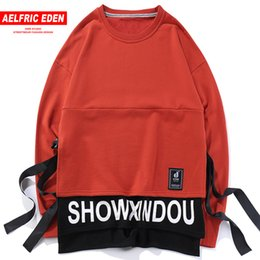 nylon blocks NZ - Aelfric Eden Color Block Patchwork Ribbons Long Sleeves Hoodies Sweatshirts Men Hip Hop Casual Male Streetwear Kt05 C19040402
