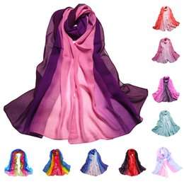 Chinese  9 Color Gradient Fashion Chiffon Scarf Womens Long Wraps And Shawls Lady Spring Autumn Scarves Plus Size Bandana Hijab Stoles manufacturers
