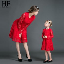 mother daughter lace matching dresses NZ - He Hello Enjoy Mother Daughter Dresses Fall 2019 Family Matching Outfits Long Sleeves Red Lace Dress Woman Clothes Look Girls Y19051103