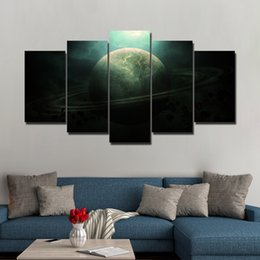 canvas prints free shipping NZ - 5 Panel HD Printed Saturn Universe Painting On Canvas Room Decoration Print Poster Picture Canvas Free Shipping