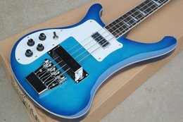 Left Handed Basses Australia - Free ShippingFactory Custom Blue 4-string Electric Bass Guitar with Left-hand,White Pickguard,Chrome Hardwares,Offer Customized