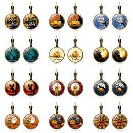 Sugar SkullS online shopping - Halloween Pumpkin Dangle Earrings Fashion Glass Cabochon Sugar Skull Witch Earrings For Women Delicate Halloween Jewelry Gift