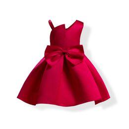 $enCountryForm.capitalKeyWord UK - 1pcs Baby Girls Bowknot Prom Dresses 2019 Kids Oblique Shoulder Sling Wedding Full Party Princess Dresses Dancewear boutique clothes