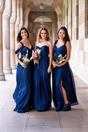 Navy blue loNg chiffoN bridesmaid dresses online shopping - Spaghetti Strips A Line Bridesmaids Dresses Chiffon Split Skirt Honor Of Maid Customized Robe De Special Occasion Party Gowns