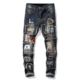 men trouser designs UK - Men's Patchwork Ripped Embroidered Stretch Jeans Trendy Holes Patches Design Slim Straight Denim Pants Denim Trousers Jeans Pant
