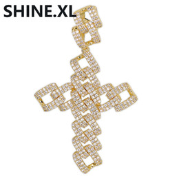 $enCountryForm.capitalKeyWord Australia - New Style Cross Pendant Iced Out Cuban Link Chain Shape 18K Gold Plated Mens Cross Necklace Chain for Men Women