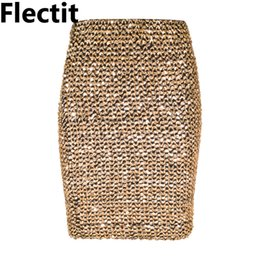 sequined skirts Australia - Flectit Womens Skirts Gold Sequined Mini Skirt Bodycon Pencil Skirt Short Wrap Skirt For Office Lady Party Girl Saia MX190731