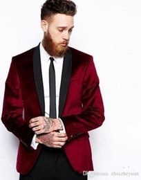 dark red tuxedos Australia - Cheap Custom Made Dark Red Velvet Groom Tuxedos two Pieces Groomsmen Suit Shawl Lapel Best Man Blazer Mens Wedding Suits (Jacket+Pants+Tie)