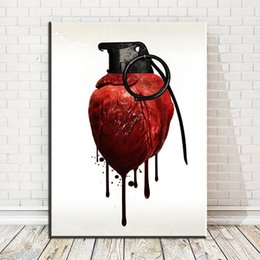 $enCountryForm.capitalKeyWord Australia - 1 Piece Modern Abstract Canvas Art Human Heart Iron Ring With Blood Art Oil Painting For Livingroom Bedroom Decoration No Framed