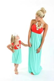 Strapless Cotton Maxi Australia - New 2019 5 Sizes Mother and Daughter's Parent-Child Dress Strapless Sleeveless Backless Beach Holiday Long Skirt YY0030