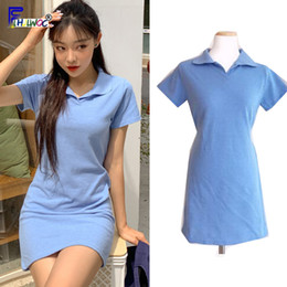japan dresses sleeves NZ - Summer Mini Dresses Woman Fashion Short Sleeve Preppy Style Casual Blue Cotton Dress Korean Japan Style Clothes 5321