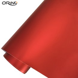pvc metallic film UK - 10 20 30 40 50X152CM Chrome Metallic Red Car Wrap Sticker Matte Chrome Red Car Motorcycle Wrapping Film Decal Air Bubble Free